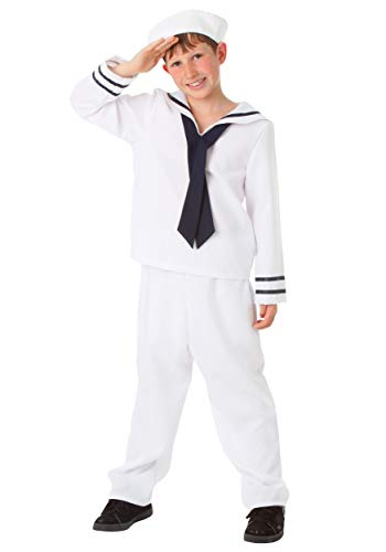 Big Boys' White Sailor Costume - L