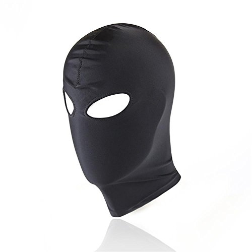 Breathable Hoods Face Cover Black Blindfold Head Mask Spandex Costume Hood Mask for Both Woman and Man (Eyes Holes)