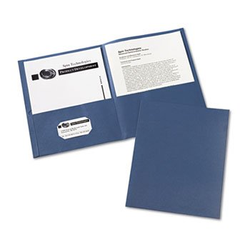 AVERY 47985 Two-Pocket Portfolio, Embossed Paper, 30-Sheet Capacity, Dark Blue, 25/Box ()