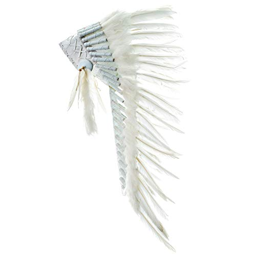Novum Crafts Feather Headdress   Native American Indian Inspired   White -