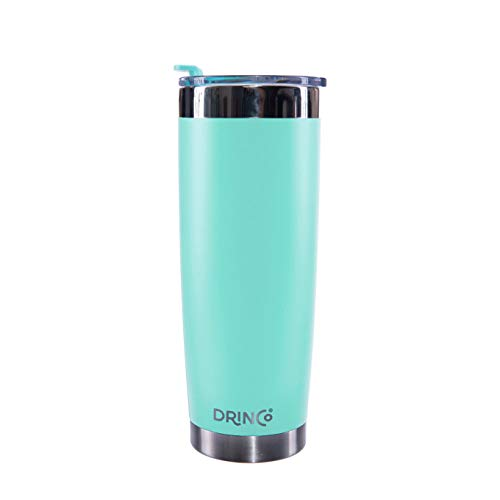 Drinco - Stainless Steel Tumbler | Double Walled Vacuum Insulated Mug With Spill Proof Lid For Hot & Cold Drinks | Aqua | Perfect for Hiking, Camping & Traveling | BPA Free | 20oz (Insulated Mugs For Cold Drinks)