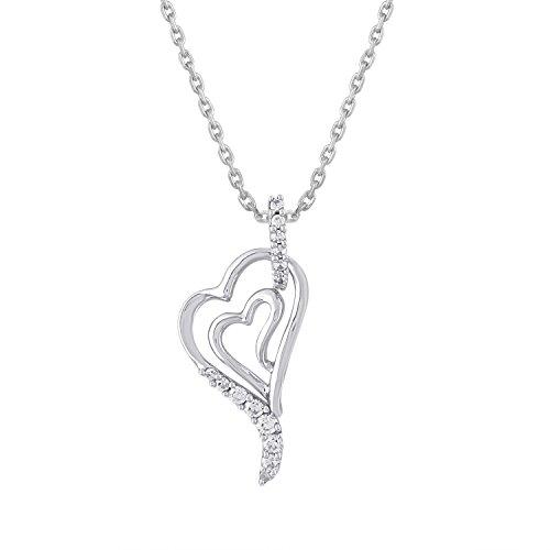 Giantti 14carats Diamant pour femme Collier Pendentif cœur (0,13CT, VS/Si-clarity, Gh-colour)