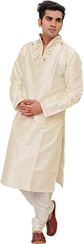 Exotic India Ivory Wedding Kurta Pajama Set - Off-White Size 38 by Exotic India