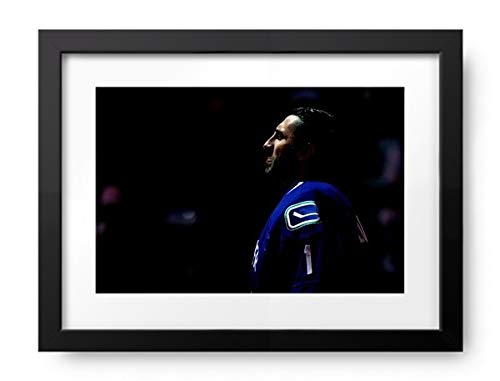 Vancouver Canucks Roberto Luongo Framed - Photos by Getty Images Boston Bruins v Vancouver Canucks - Game One - Framed Print, Framed, Matte Black, White Matte, 16.5x12.5