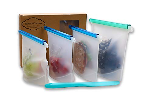 Reusable Silicone Food Storage Bags with free Spatula | Sous Vide, Sandwich, Snack, Lunch, Ziploc | Eco Friendly Microwave Dishwasher Freezer Safe, Leak Proof | 4 Pack Premium - 1 Large & 3 Medium
