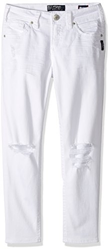 Silver Jeans Co. Women's Suki Curvy Fit Mid Rise Skinny Crop (Silver Jeans Embroidered Jeans)