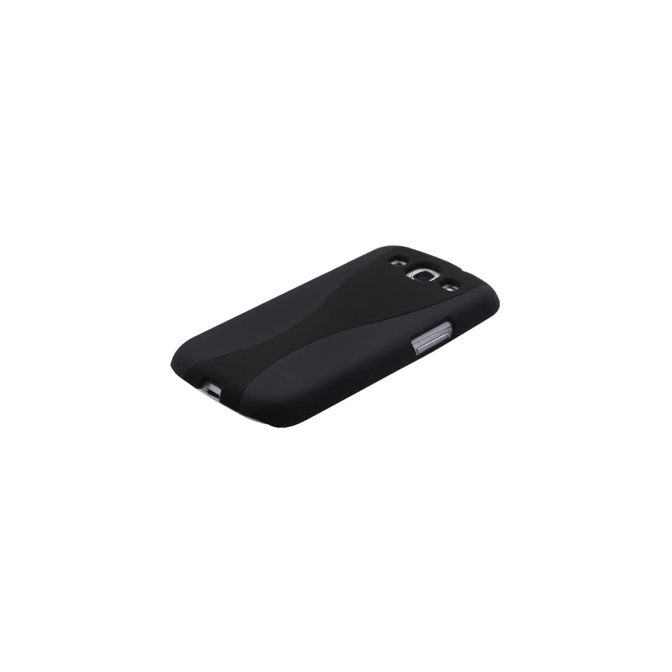 MYBAT SAMSIIIHPCBKCH302NP Premium Dual Color Case for Samsung Galaxy S3   1 Pack   Retail Packaging   Black/Black Wave