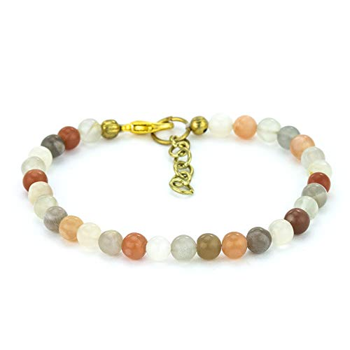 Mystic Self Natural Handmade Beaded Women's Jewelry Genuine Semi Precious Gemstone Rainbow Moonstone Bracelet