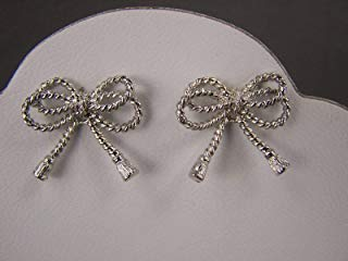 (Silver tone rope knot knotted ribbon bow twist stud post earrings 3/4 wide)