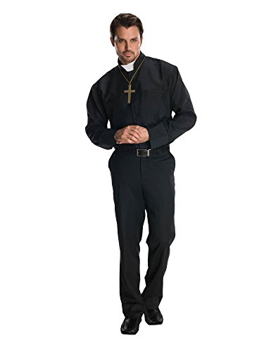 (Rubie's Heroes and Hombres Adult Priest Shirt, Black, Standard)