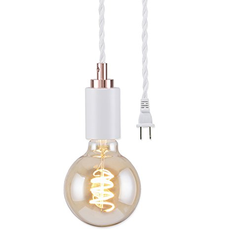 (BRIGHTTIA Matte White Plug-in Simple Top Mini Pendant Light - Rose Gold Color Accents - Modern Minimalist Light - Mid Century Industrial Exposed Bulb Lighting - 16.4' Braided Fabric Cord - BP0005-1AP)