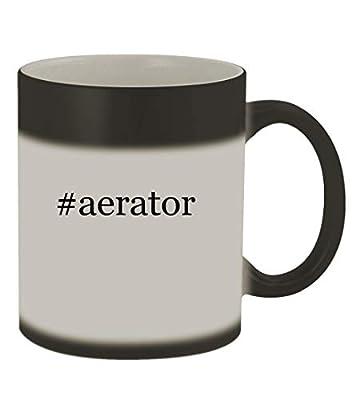 #aerator - 11oz Color Changing Hashtag Sturdy Ceramic Coffee Cup Mug, Matte Black