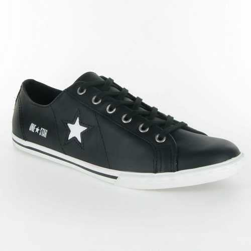 Converse - 013860 One Star Low Pro : /Cuir/122 Noir/Blanc ...