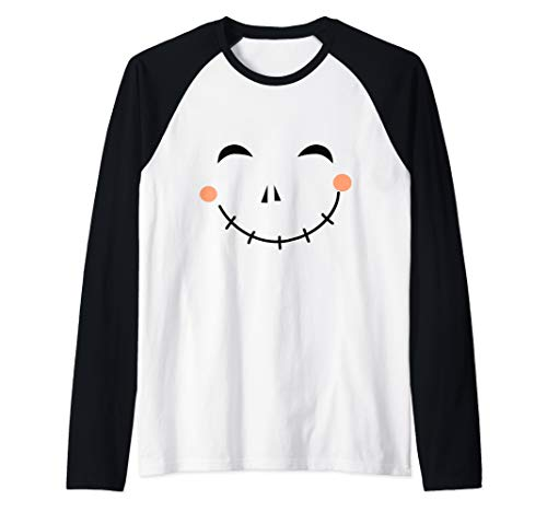 Last Minute Happy Scarecrow Halloween Costume Raglan Baseball Tee -