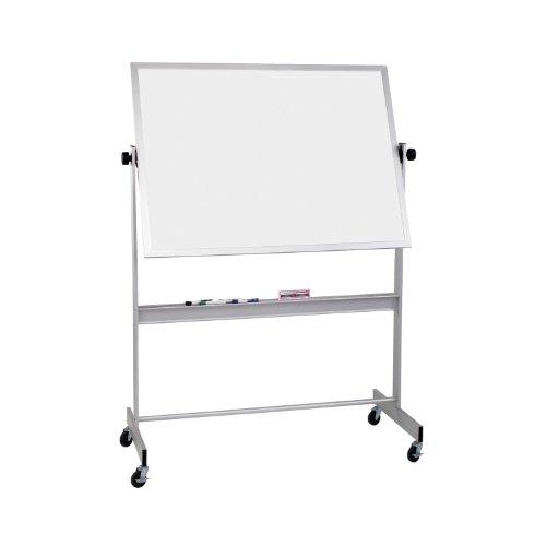 Balt Reversible Porcelain - Best-Rite Deluxe Reversible Mobile Whiteboard, Porcelain Markerboard Both Sides, Aluminum Trim, Panel Size 4 x 5 Feet (668AF-DD)