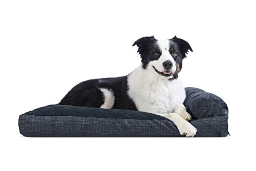 Furhaven Pet Dog Bed | Quilted Fleece & Print Suede Chaise Lounge Pillow Sofa-Style Pet Bed for Dogs & Cats, Dark Blue, Large ()