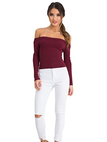Womens Ribbed Knit Long Sleeve Off the Shoulder Blouse Crop Tops M Burgundy