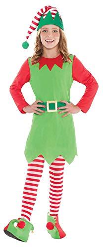 - Chldrens Girls Teens Cute Elf 4 Piece Fancy Dress Costume Outfit Christmas Festive Santas Helper Nativity 8-14 Years (12-14 Years)