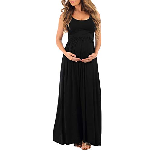 - TIFENNY Women's Maternity Dress Short Sleeve Mini Dress Sleeveless Ruched Print Solid Color Plus Size Tanks Maxi Dress Black