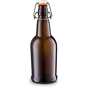 Home Brewing Glass Beer Bottle with Easy Wire Swing Cap & Airtight Rubber Seal – 16oz – Case of 12 – by Tiabo