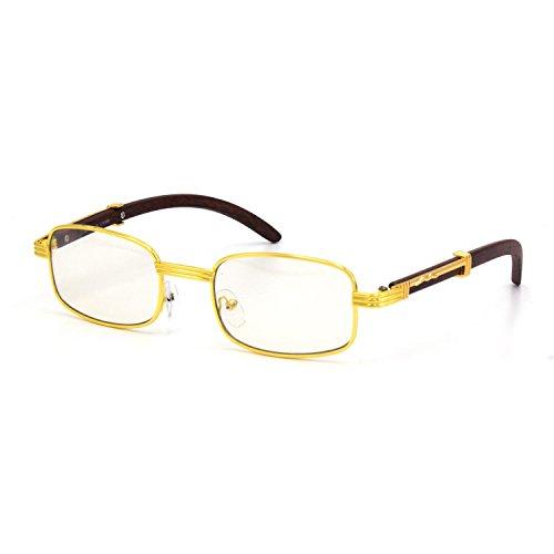 Jgny - 14k Gold Handmade Designer Woodframe Motorcity Eyeglasses UV - 14k Eyeglass Frames Gold
