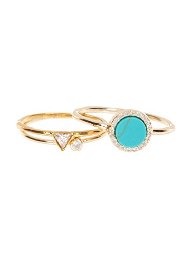 Sterling Forever 3 Piece Stacked Ring Set - Triangle, Simulated Turquoise, Bezel Ring Size : 5 3 Stone Triangle Ring