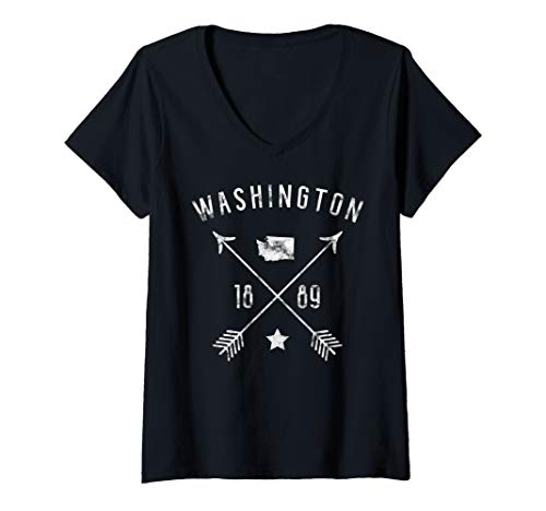 State Womens V-neck - Womens Washington Retro Vintage Home State Map Distressed Arrows V-Neck T-Shirt