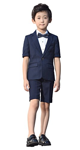 Iyan Boys Short Suits 5 Piece Slim Fit Suit for Boys Navy Blue Size 4T]()
