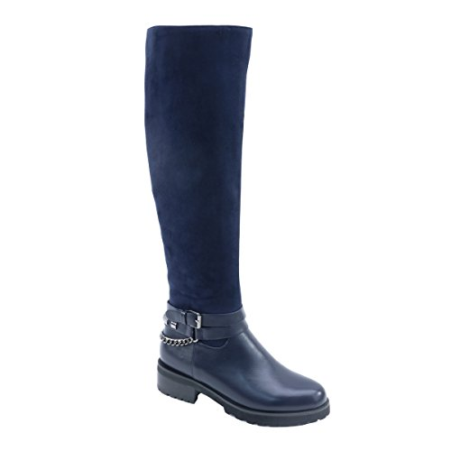 Brieten New Mujeres Knee High Buckle Botas Largas Azul Marino