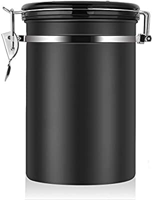 Large Airtight Coffee Container Stainless Steel Black Kitchen