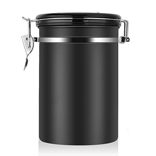 Large Airtight Coffee Container, Stainless Steel Black Kitchen Storage Canister for Coffee, Nuts,Sugar, Flesh(22 OZ) (Coffee Airtight Storage)