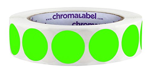 ChromaLabel 1 inch Color-Code Dot Labels   1,000/Roll (Fluorescent Green)