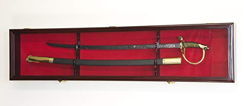 1 Sword Display Case Cabinet Stand Holder Wall Rack Box - Lockable w/ 98% UV Protection -Cherry Finish