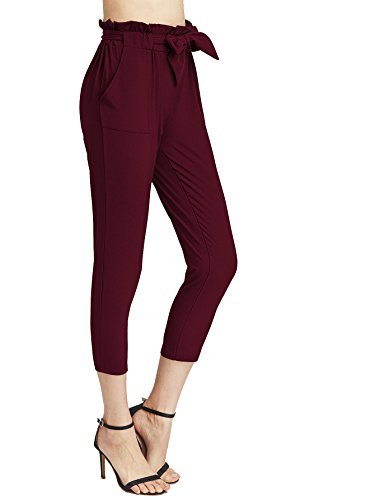 SweatyRocks Women's Skinny Straight Leg Belted Casual Pants Capris with Pockets Burgundy M ()