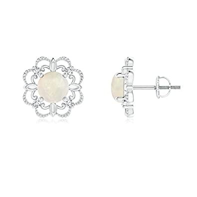 Angara 5mm Opal Diamond Flower Earrings in White Gold OaWFF4MF