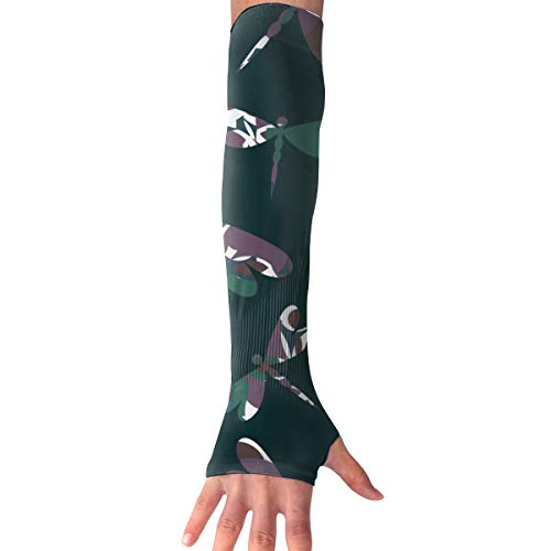 MASDUIH Wildlife Dragonflies Gloves Anti-uv Sun Protection Long Fingerless Arm Cooling Sleeve
