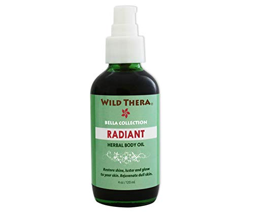Wild Thera Herbal Radiant Body Oil to rejuvenate skin cells, lighten and brighten skin tone, remove impurities. Unclog pores, detox and exfoliate with natural oils, herbs and Aromatherapy EO blend.