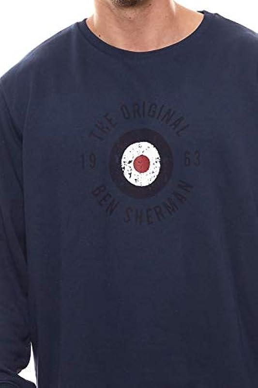 Ben Sherman Sweater sweter luźny krÓj męska bluza z okrągłym dekoltem sweter rekreacyjny sweter granatowy, rozmiar: XXL: Odzież