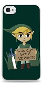 Will Cut Grass For Rupees Zelda Apple iPhone 4/4S Hardshell Case - White -651