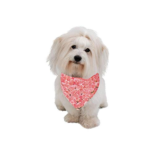 WIEDLKL Pet Dog Cat Bandana Pink Spring Romantic Sweet Fragrant Flower Fashion Printing Bibs Triangle Head Scarfs Kerchief Accessories for Large Dog Pet Birthday Party Easter Gifts