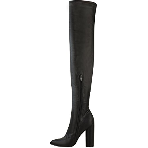 Fashion Thirsty Womens Thigh High Stretch Lycra Boots Over The Knee High Heels Size Black Faux Leather UDLqQuRIgu