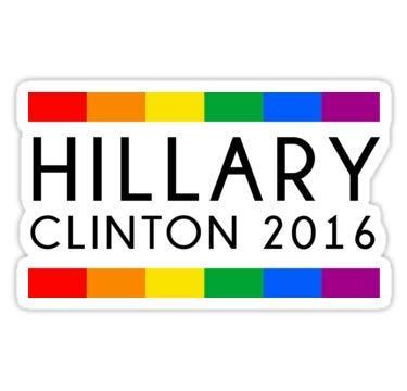 Lancy's Artwork Hillary Clinton 2016 Rainbow Flag - 4x4 - Gay Pride Sticker