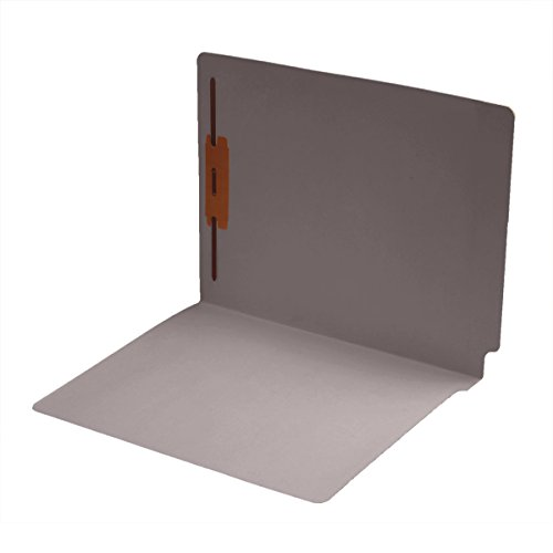14 pt Color Folders, Full Cut 2-Ply End Tab, Letter Size, Fastener Pos #1, Gray (Box of 50) Cut Two Ply End Tab
