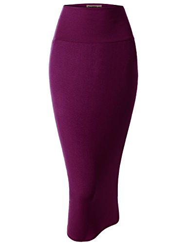 Doublju Women Lightweight Elastic Waist Band Pencil Skirt - Lightweight Pencil Skirt Wool