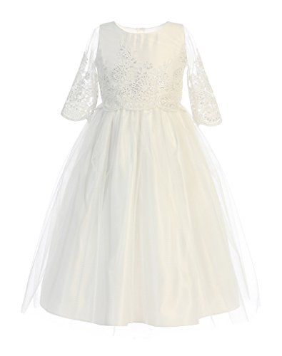 Sweet Kids Sequin & Cord Embroidered Flower Girl Dress, 10, Off White
