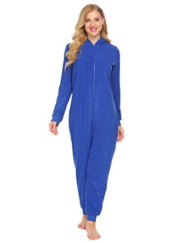 Fleece Playsuit (L'amore Women Onesie Pajamas Long Sleeve Hooded Solid Fleece Playsuit Nightwear Jumpsuit For Winter)