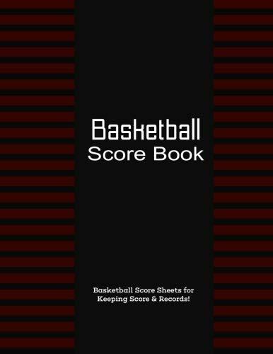Basketball Score Book: Red & Black, Matte, 8.5