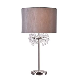 Kenroy Home 35261BS Katelyn Table Lamps, Medium, Brushed Steel Finish with Faceted Glass Accents