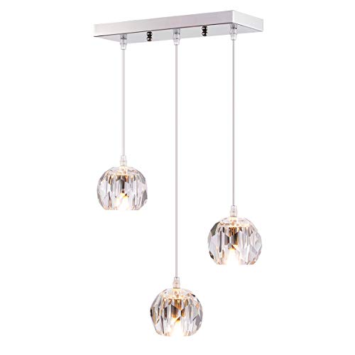 (Fancy 3-Light Crystal Globe Pendant Lighting for Kitchen Island, Modern Small Indoor Decorative Ceiling Pendant Light for Dinning Room Living Living Room Bar Room Restaurant )