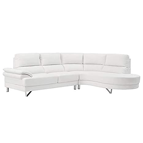 Amazon.com: Sectional Sofa with Chaise 2-Piece Faux Leather ...